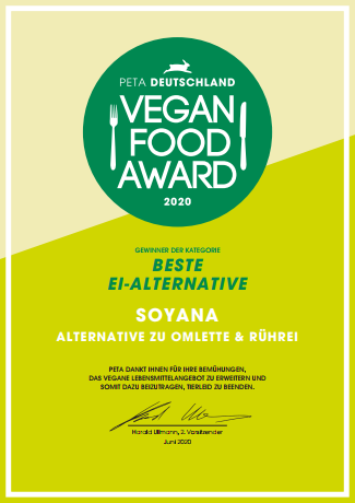 PETA Vegan Food Award 2020 Urkunde
